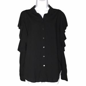 & Other Stories Ruffle Cold Shoulder Button Blouse